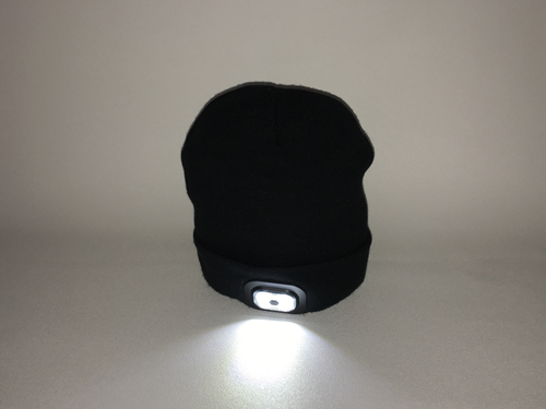 Bluetooth Beanie Hat with Built in Headphones and Headtorch - Black Fine Knit