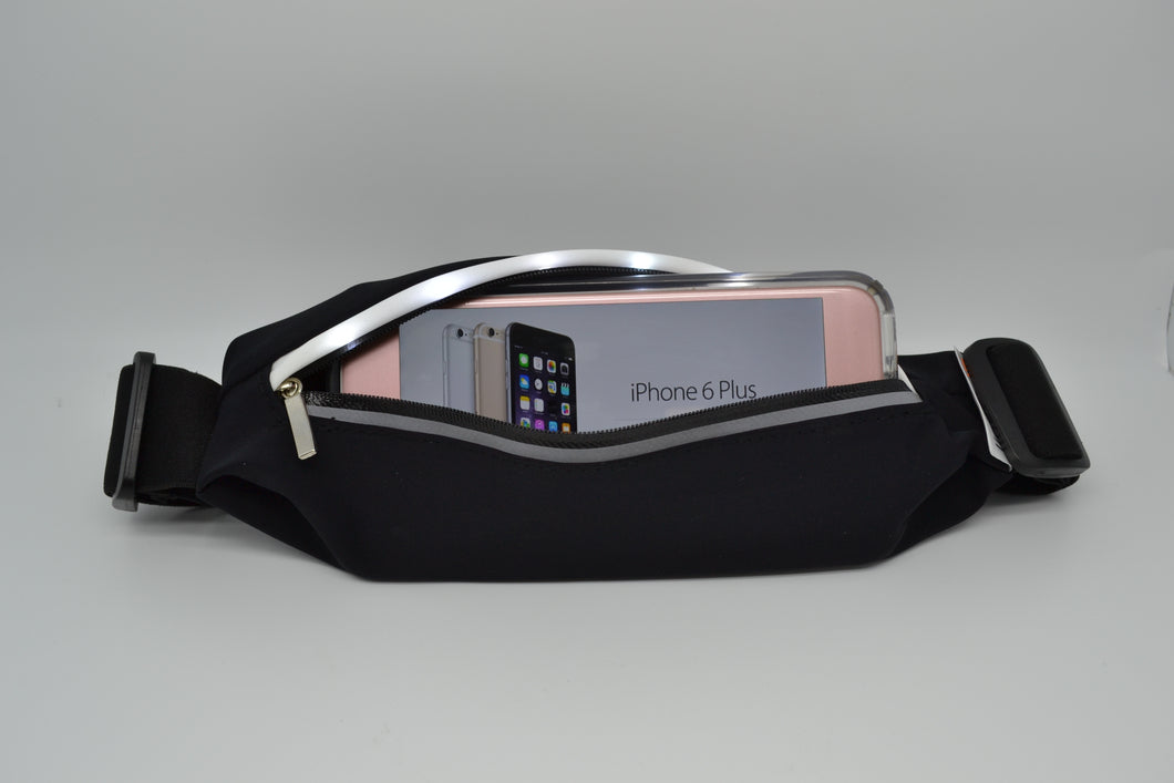 Light up sports waistband with phone inserted