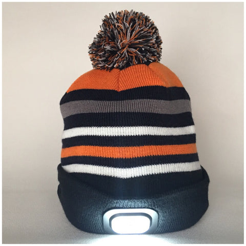 Beanie Hat with Built in Bluetooth Headphones and Headtorch -Black and Orange Striped Fine Knit