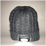 Beanie Hat with Built in Bluetooth Headphones and Headtorch -Grey Chunky Knit