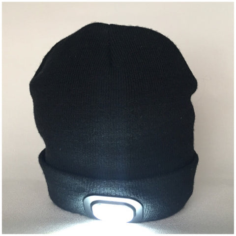 Beanie Hat with Built in Bluetooth Headphones and Headtorch - Black Fine Knit