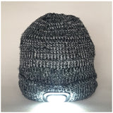 Beanie Hat with Built in Bluetooth Headphones and Headtorch -Black and White Fine Knit