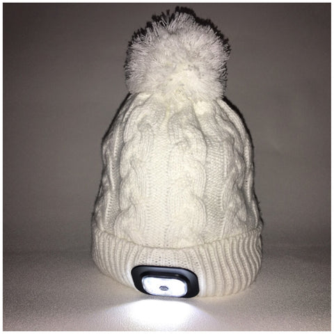 Beanie Hat with Built in Bluetooth Headphones and Headtorch -Winter White Chunky Knit