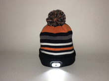 Bluetooth Beanie Hat with Built in Headphones and Headtorch -Black and Orange Striped Fine Knit