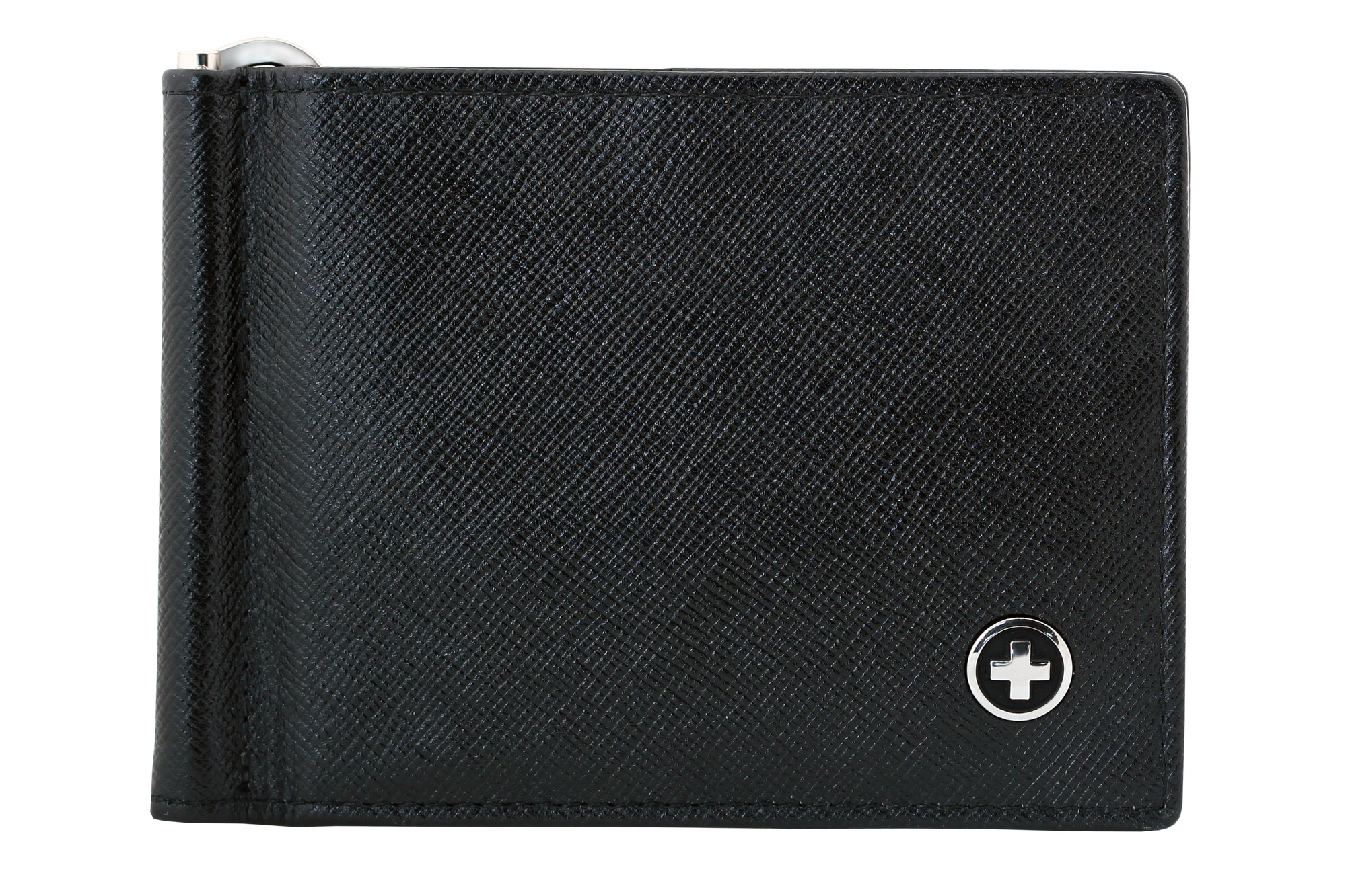 SWISS WALLET Leather Billfold Clip, Black Saffiano