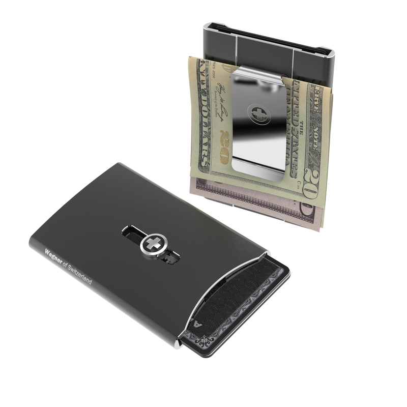 SWISS WALLET ICE, Cardholder Money-clip, brushed silver