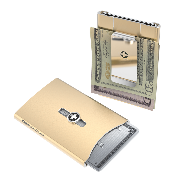 SWISS WALLET ICE, Cardholder Money-clip, brushed champagne