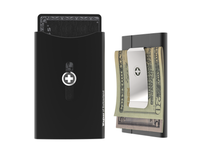 SWISS WALLET ORIGINAL, Cardholder with Money clip, black