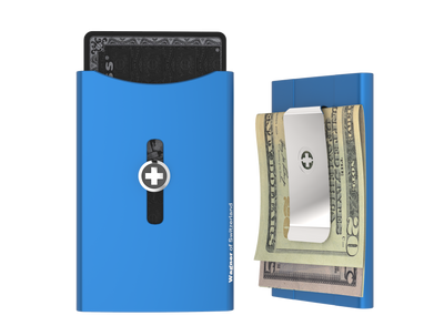SWISS WALLET ORIGINAL, Cardholder Money clip, blue