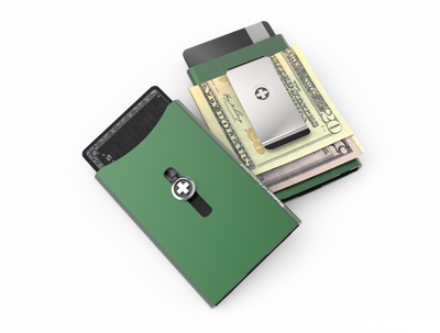 SWISS WALLET ORIGINAL, cardholder with moneyclip, green
