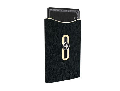 SWISS WALLET SKIN, black on champagne