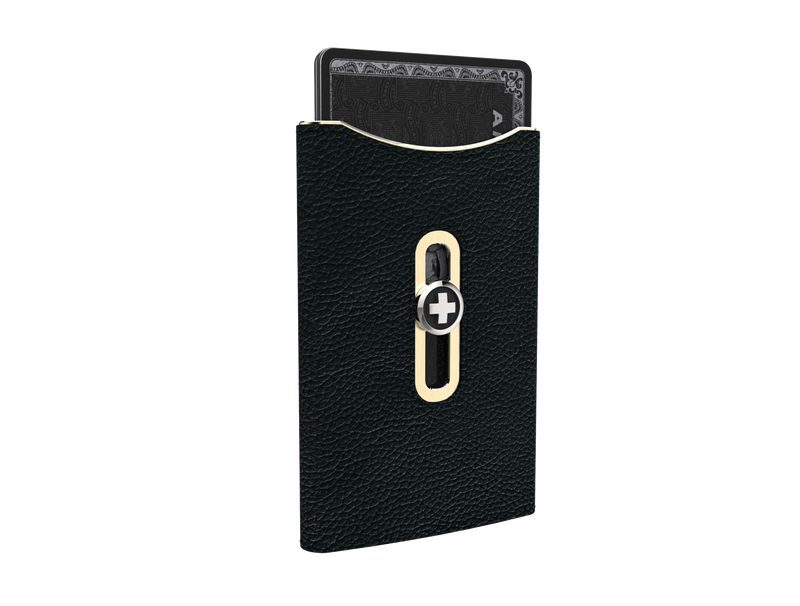 SWISSWALLET SKIN, black on champagne
