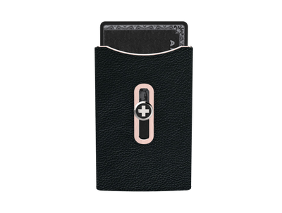 SWISS WALLET SKIN, black on rose