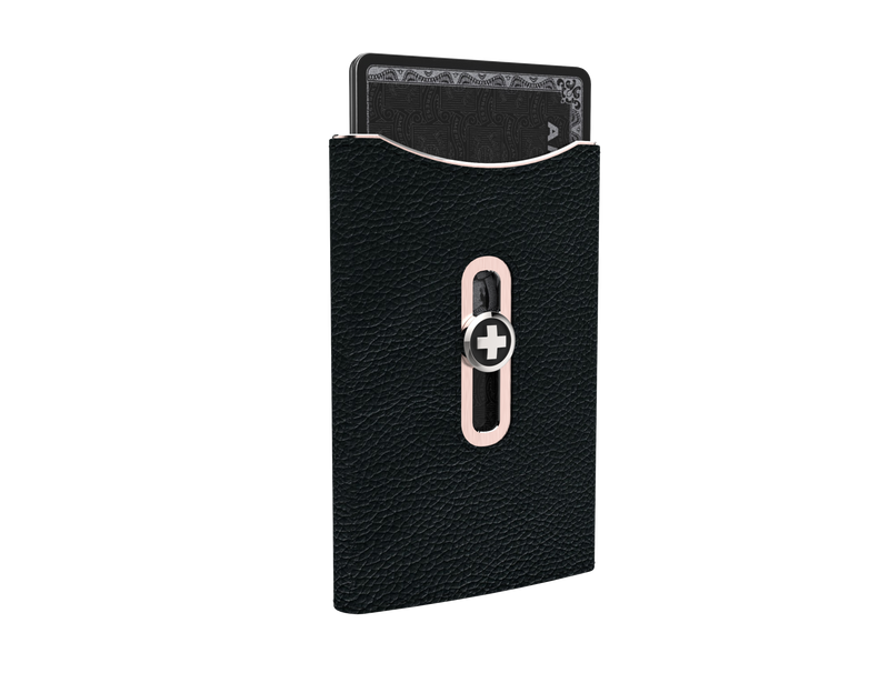 SWISSWALLET SKIN, black on rose