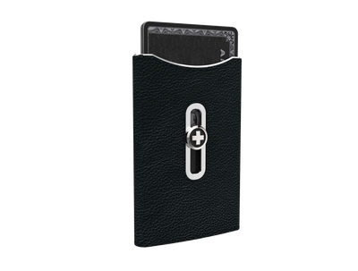 SWISS WALLET SKIN, black on silver