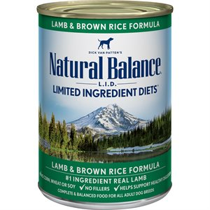 Natural Balance Dog LID Lamb & Brown Rice Formula Cans 12 / 13oz
