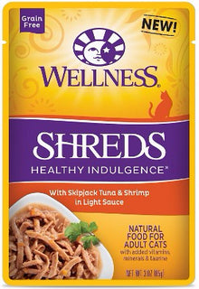 Wellness ® Healthy Indulgence ® Shreds Grain Free Tuna and Shrimp Pouches