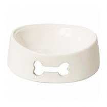 SPOT® BAILEY BONE DOG DISH WHITE