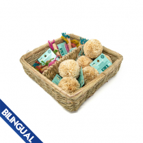 OXBOW ANIMAL HEALTH™ ENRICHED LIFE PLAY POM & RAINBOW KNOT STICK BASKET