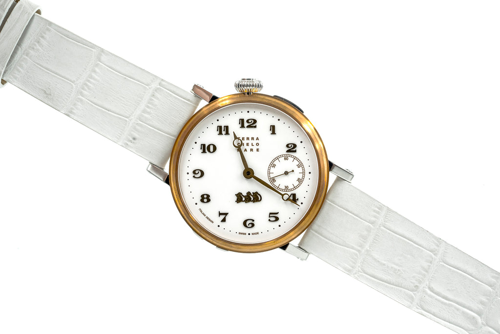 White Crocowdile leather strap - Lug 22 Buckle 20
