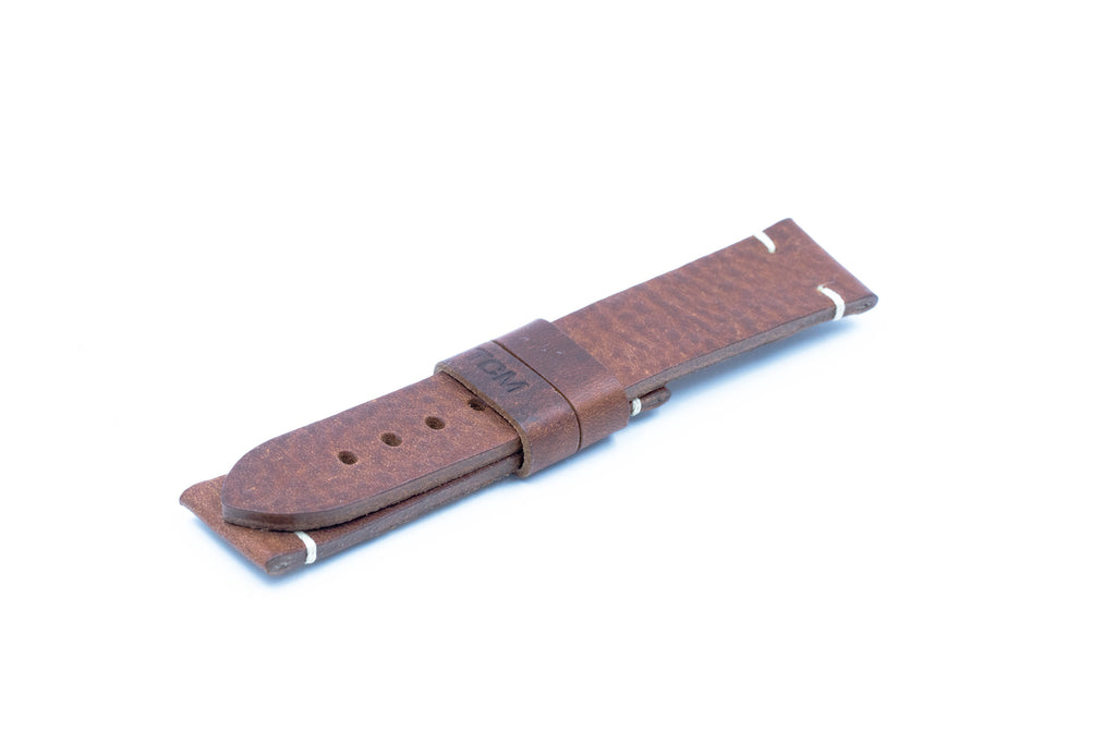 Dark brown leather strap - Ecru stitching - 22/20