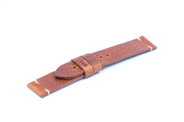 Rust leather strap - Ecru stitching - Lug 22 Buckle 20