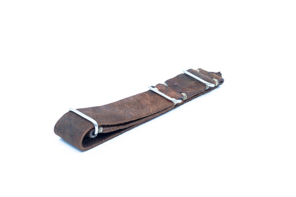 Nato brown leather strap - Lug 22 Buckle 22