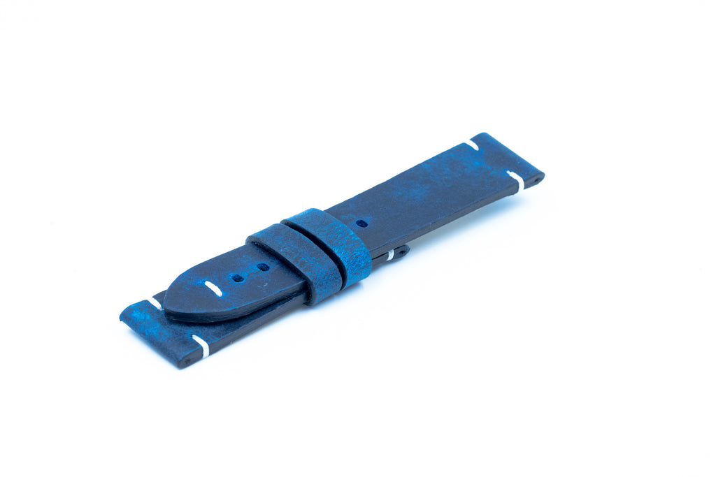 Petrol blue leather strap - White stitching - 22/20