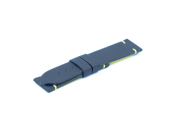 Black microgummy strap - Yellow stitching - Lug 22 Buckle 20