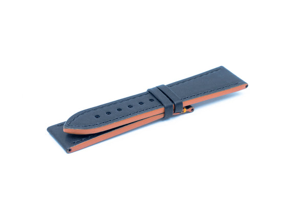 Black leather strap - Orange stitching - 22/20