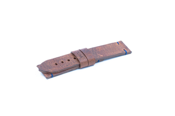 Dark brown leather strap - Blue stitching - 22/20
