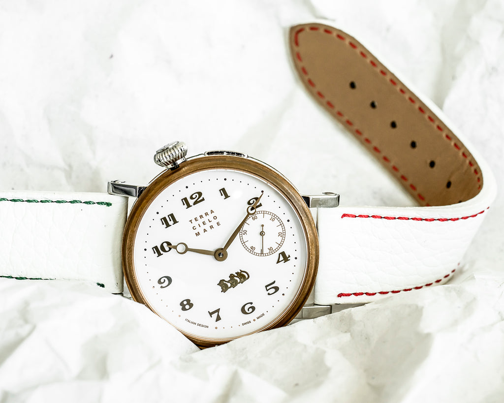 White strap -  Red and green stitching - Lug 22 Buckle 20