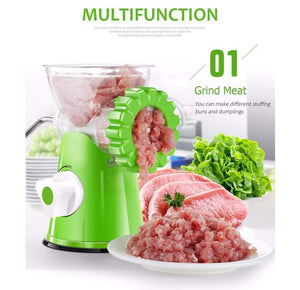 Meat grated with manual meat grinder