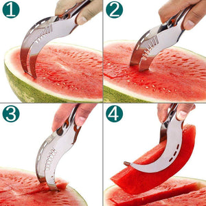 Watermelon knife cutter cuts beautiful slices of watermelon