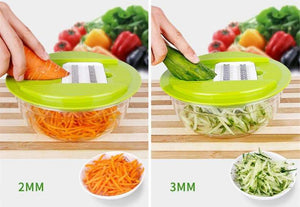 Carrot and Cucumber Are Cut By Multi Kitchen Slicer