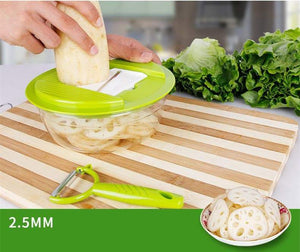 Potatoes are cut easily with multi kitchen slicer