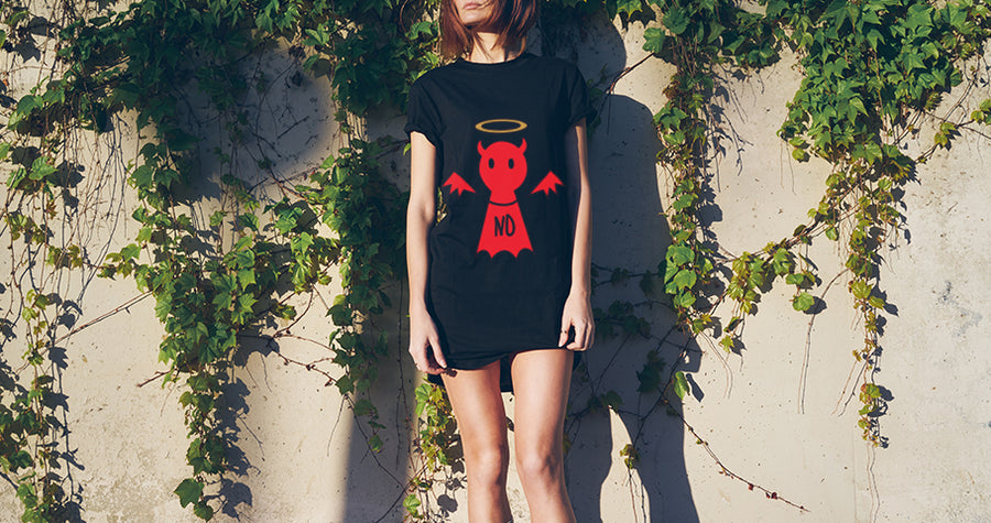 Reversible Bamboo Clothing - Angel / Devil T-shirt Dress -Bold Clothing - Unique Bamboo Clothing & Streetwear | #sayitinbold @boldornaked shop online at www.boldornaked.com