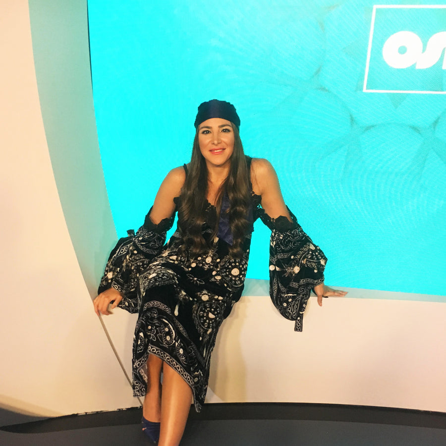 Habiba Basiony wears Bold's Dream Lover Headwear on the OSN TV show Spotlight | Bold Clothing - Unique Bamboo Clothing & Streetwear | #sayitinbold @boldornaked shop online at www.boldornaked.com