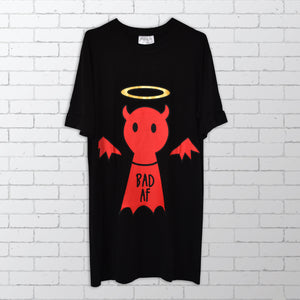 Bold's Angel / Devil Bamboo T-shirt Dress - Good AF / Bad AF Bamboo T-shirt / Dress / Sleepwear - Bamboo Clothing | Bold Clothing & Headwear - #sayitinbold | Bold Clothing | Streetwear | www.boldornaked.com