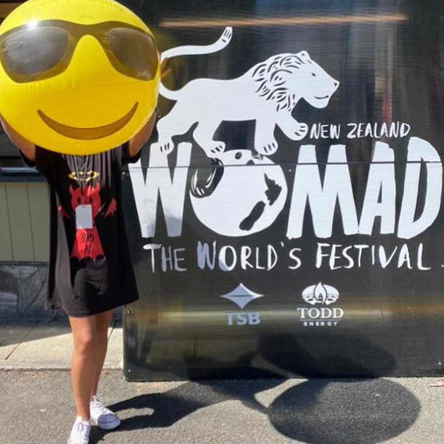 Kate wears Bold's Good AF / Bad AF Bamboo T-shirt / Dress / Sleepwear - at Womad NZ -  Bold Clothing - Unique Bamboo Clothing & Streetwear | #sayitinbold @boldornaked shop online at www.boldornaked.com