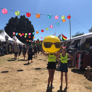 Grace, Aaliyah & Bob the ball rock our Bold AF singlets at Womad NZ