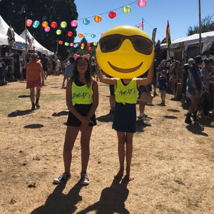 Aaliyah & Grace wear Bold's Bold AF - Yellow Dry-Fit Singlet for women at Womad NZ  | #sayitinbold | Bold Clothing | www.boldornaked.com