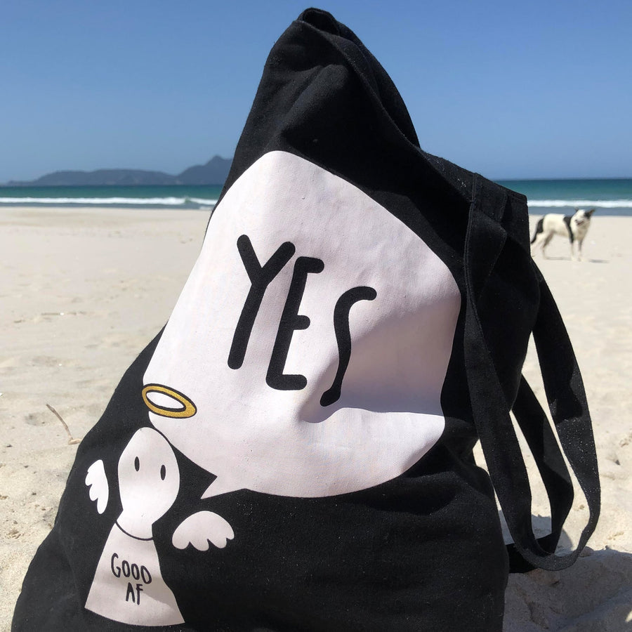 #Bagsy Location: Langs Beach NZ | The Bold Yes / No re-usable tote bag | gym bag | beach bag | shopping bag | Free with every Hoodie | #sayitinbold @BoldorNaked shop online www.boldornaked.com
