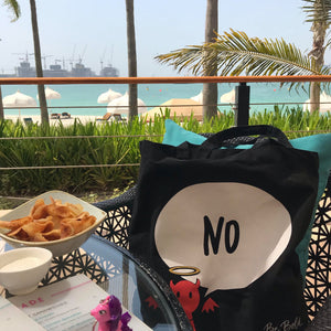 #Bagsy Location: Dubai One & Only Lunch View | The Bold Yes / No re-usable tote bag | gym bag | beach bag | shopping bag | Free with every Hoodie | #sayitinbold @BoldorNaked shop online www.boldornaked.com