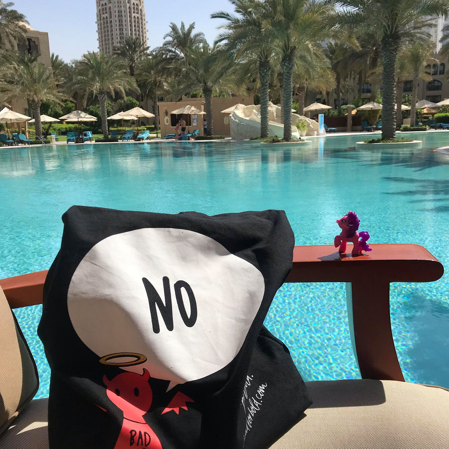 #Bagsy Location: One & Only Dubai pool view | The Bold Yes / No re-usable tote bag | gym bag | beach bag | shopping bag | Free with every Hoodie | #sayitinbold  @BoldorNaked shop online www.boldornaked.com