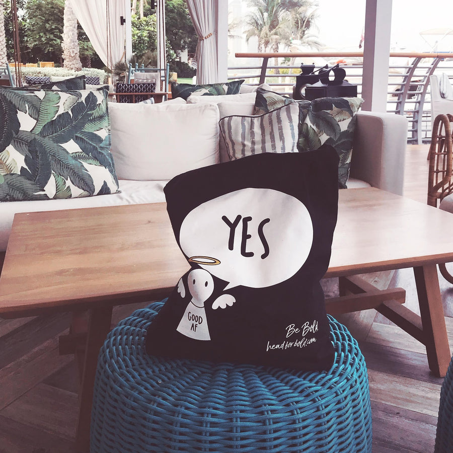 #Bagsy Location: Save my seat at the Dubai Creek | The Bold Yes / No re-usable tote bag | gym bag | beach bag | shopping bag | Free with every Hoodie | #sayitinbold @BoldorNaked shop online www.boldornaked.com
