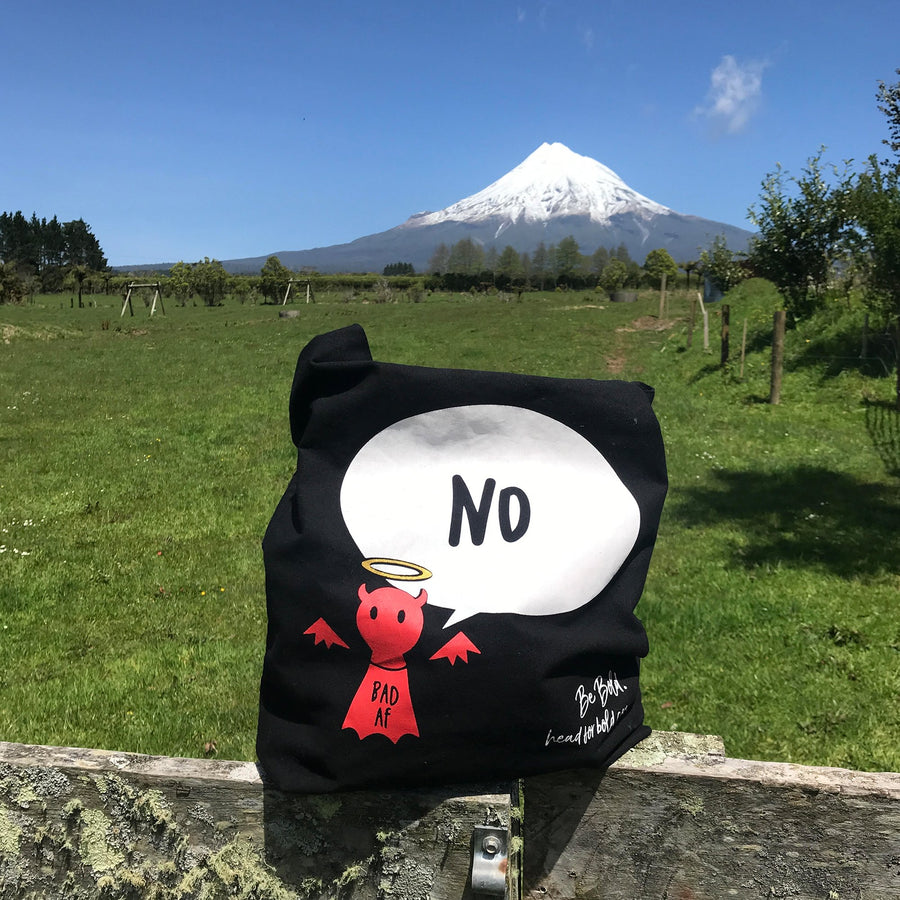#Bagsy Location: Mt Taranaki NZ | The Bold Yes / No re-usable tote bag | gym bag | beach bag | shopping bag | Free with every Hoodie | #sayitinbold @BoldorNaked shop online www.boldornaked.com