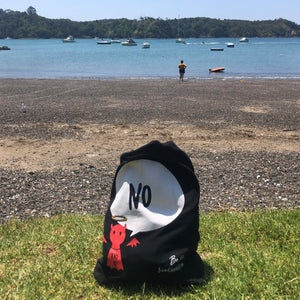 #Bagsy On Tour: New Zealand - Whangarei Beach | Re-usable #Bagsy Location: Dubai | The Bold Yes / No re-usable tote bag | gym bag | beach bag | shopping bag | Free with every Hoodie | #sayitinbold @BoldorNaked shop online www.boldornaked.comote bag | Bold Clothing