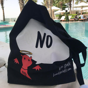 #Bagsy Location: Dubai Intercontinental | The Bold Yes / No re-usable tote bag | gym bag | beach bag | shopping bag | Free with every Hoodie | #sayitinbold @BoldorNaked shop online www.boldornaked.com