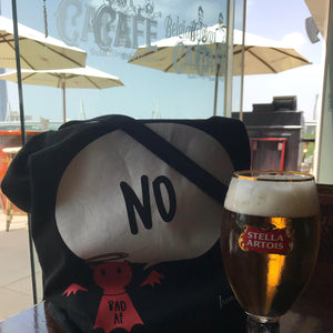 #Bagsy Location: Belgium Beer Cafe Dubai | The Bold Yes / No re-usable tote bag | gym bag | beach bag | shopping bag | Free with every Hoodie | #sayitinbold @BoldorNaked shop online www.boldornaked.com